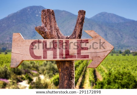 Chile wooden sign with winery background - stock photo