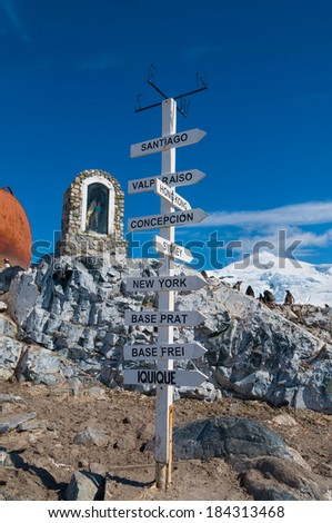Chilean base Antarctica distance pole - stock photo