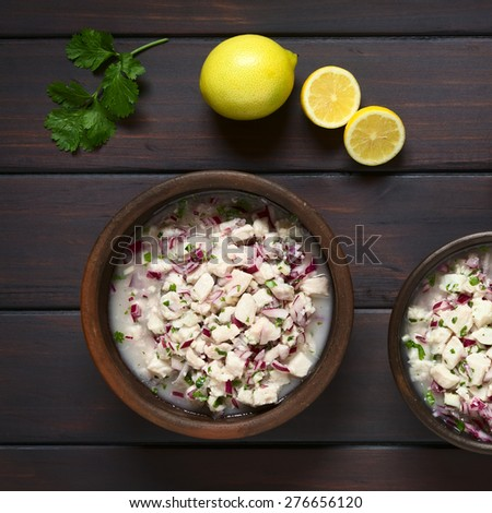 Chilean Ceviche made of Southern Ray's bream fish (lat. Brama Australis, Spanish Reineta), onion, garlic, cilantro marinated in lemon juice. Photographed overhead on dark wood with natural light.