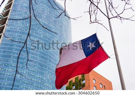 Chilean flag between two modern buildings - stock photo
