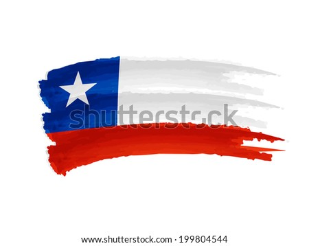 Chilean flag - isolated hand drawn illustration banner - stock photo