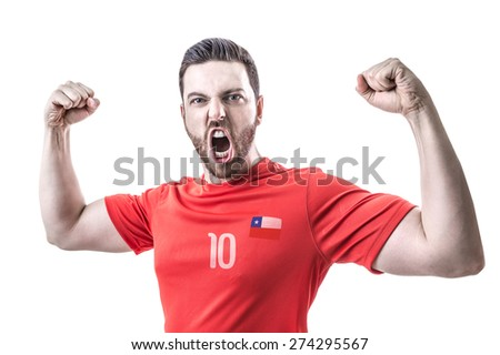 Chilean Soccer player on white background