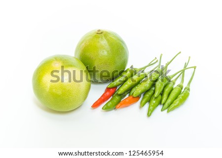Chili and Lime on white background - stock photo