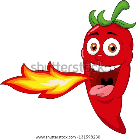 Chili  Cartoon Character Breathing Fire - stock photo