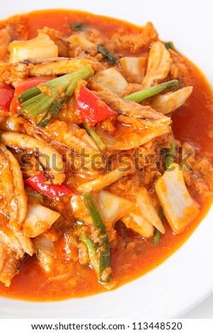 Chili Crab fire seafood - stock photo