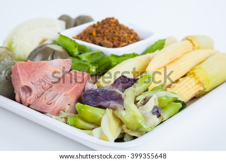 Chili paste(Nam Prik) ,Thai food : Grilled Fish Chili Paste with  mix vegetable.