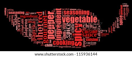 Chili pepper and spicy info-text graphics composed in chili shape concept (word clouds)