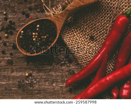 Chili pepper on the table - stock photo