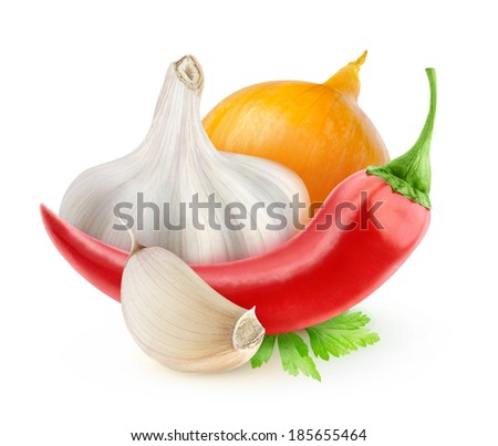 Chili pepper, onion and garlic (tabasco sauce ingredients) isolated on white - stock photo