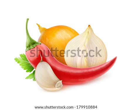 Chili pepper, onion and garlic (tabasco souce ingredients) isolated on white - stock photo