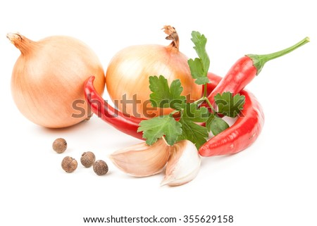 Chili pepper, onion and piece of garlic (tabasco sauce ingredients) over white background - stock photo