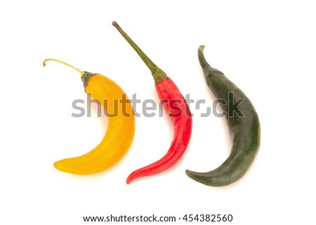 chili pepper red/green/orange/yellow isolated on a white background. - stock photo