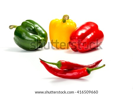 chili peppers and red, yellow and green bell pepper
