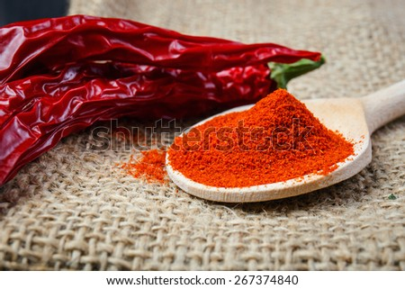 chili peppers on a wooden spoon - stock photo