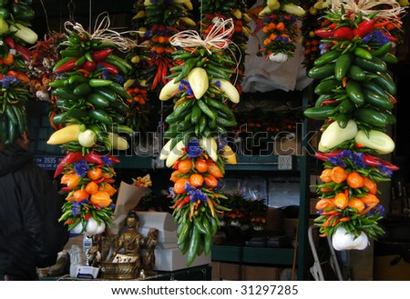 Chili ristras hanging in  Pike Place Market,   Seattle, Pacific Northwest - stock photo