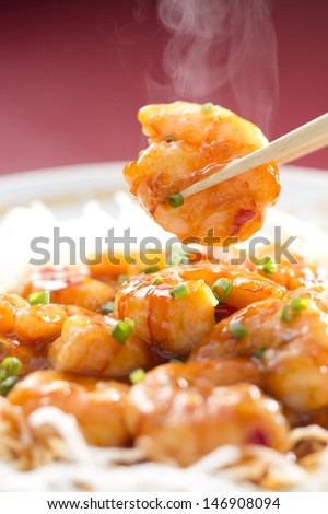 Chili sauce of a shrimp - stock photo