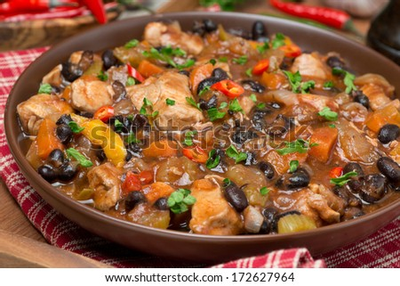 chili with black beans and chicken, close-up, horizontal - stock photo
