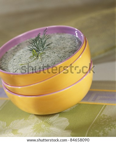 Chilled cream of cucumber soup - stock photo