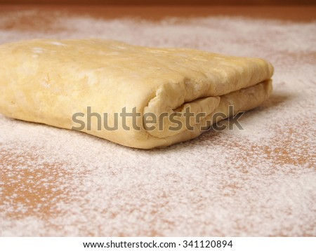 Chilled dough. Making short-cut puff pastry series.