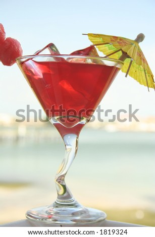 Chilled drink at the seaside - stock photo