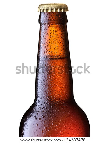 Chilled isolated brown beer bottle - stock photo