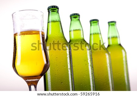 Chilled perfect beer on white background!