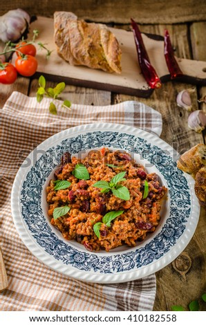 Chilli con carne, spicy and delicious food, full of protein - stock photo