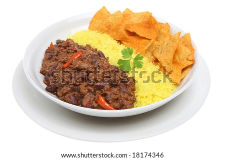 Chilli con carne with rice and tortilla chips - stock photo
