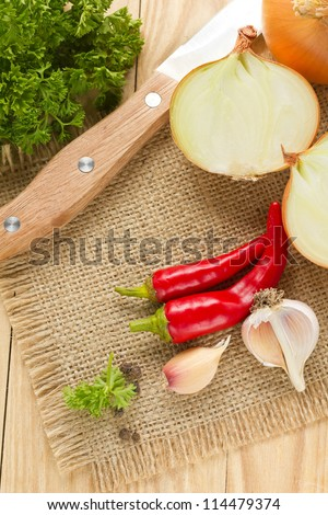 Chilli,onion and garlic - stock photo