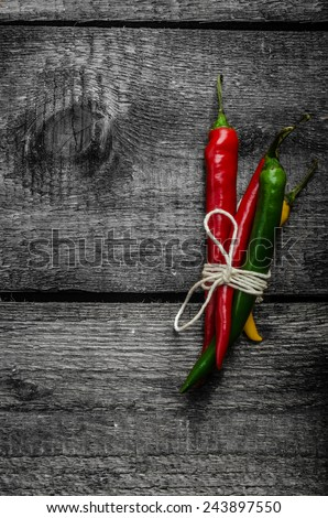 chilli peppers, various kinds of space for advertising text - stock photo