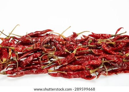 Chilli red dried pepper isolated on white background - stock photo