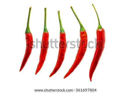 chilli red peppers on white background