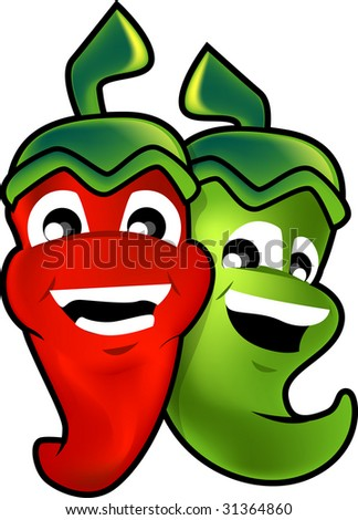 Chillies cartoon illustration - isolated over white background - stock photo