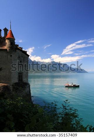 Chillon castle and Lac Leman lake, Montreux (Switzerland) - stock photo