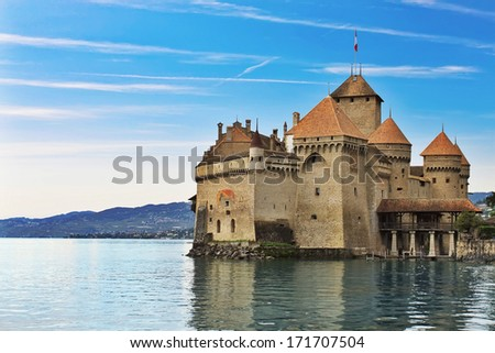 Chillon castle in Montreux city on Geneva lake in Switzerland - stock photo