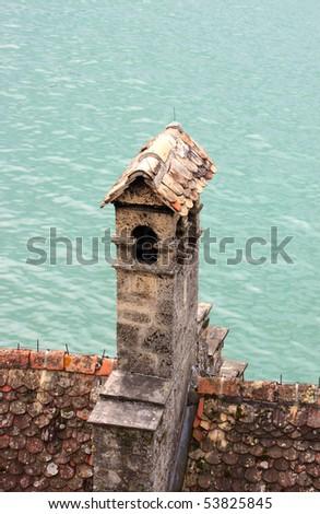 Chillon castle on the bank of lake of Geneva _1 - stock photo
