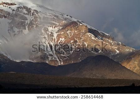 Chimborazo volcano in the Andes, the highest mountain of Ecuador - stock photo