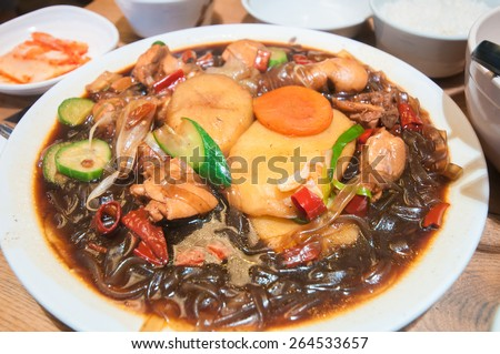 Chimdak, Chicken with vermicelli fried in black sauce. One of favorite korean food dish.