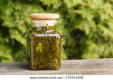 chimichurri in a glass jar