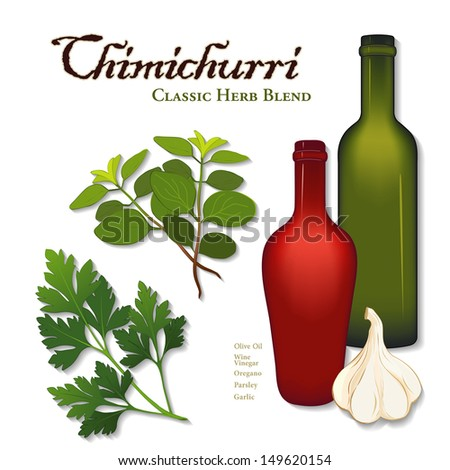 Chimichurri, Popular Herb Sauce, originating in Argentina used for grilled, barbecue meat. Parsley, garlic, oregano, bottles of olive oil & wine vinegar. See other herb blends and spices in series.  - stock photo