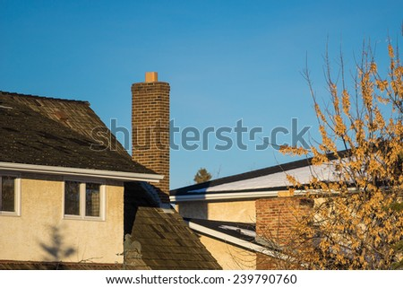 Chimney and  Blue Sky - stock photo