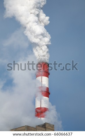 Chimney at the energy station in the winter