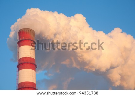 Chimney heating station in the bitter cold - stock photo