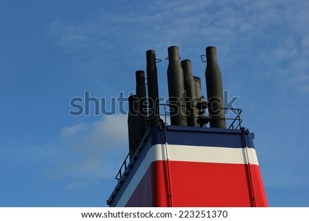Chimney of a ferry ship. - stock photo