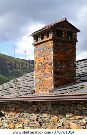 Chimney of unturned of schist stone in Piodao village, Portugal