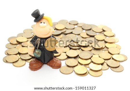 Chimney sweep standing on a pile of coins. Isolated on white background