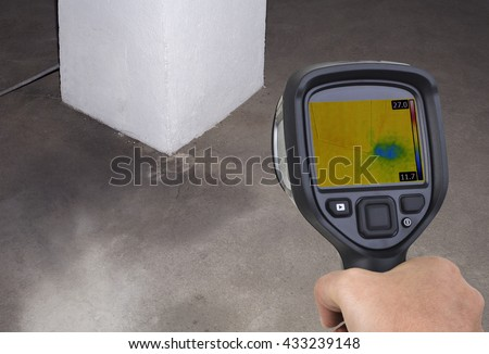 Chimney Thermal Camera Leak Investigation - stock photo