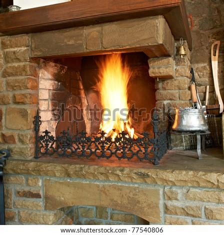 Chimney traditional Bulgarian fireplace - stock photo
