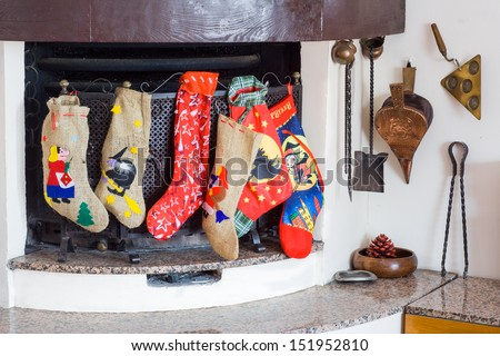 Chimney witch socks in ephiphany - stock photo