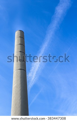 Chimney with low emission of carbon dioxide (CO2). - stock photo